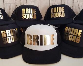 Bride Squad Bridesmaid Hen Party Half Mesh Baseball Trucker Rapper Cap Hat, Bridal Party Caps