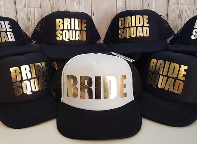 Bride Squad Bridesmaid Hen Party Half Mesh Baseball Trucker image 0