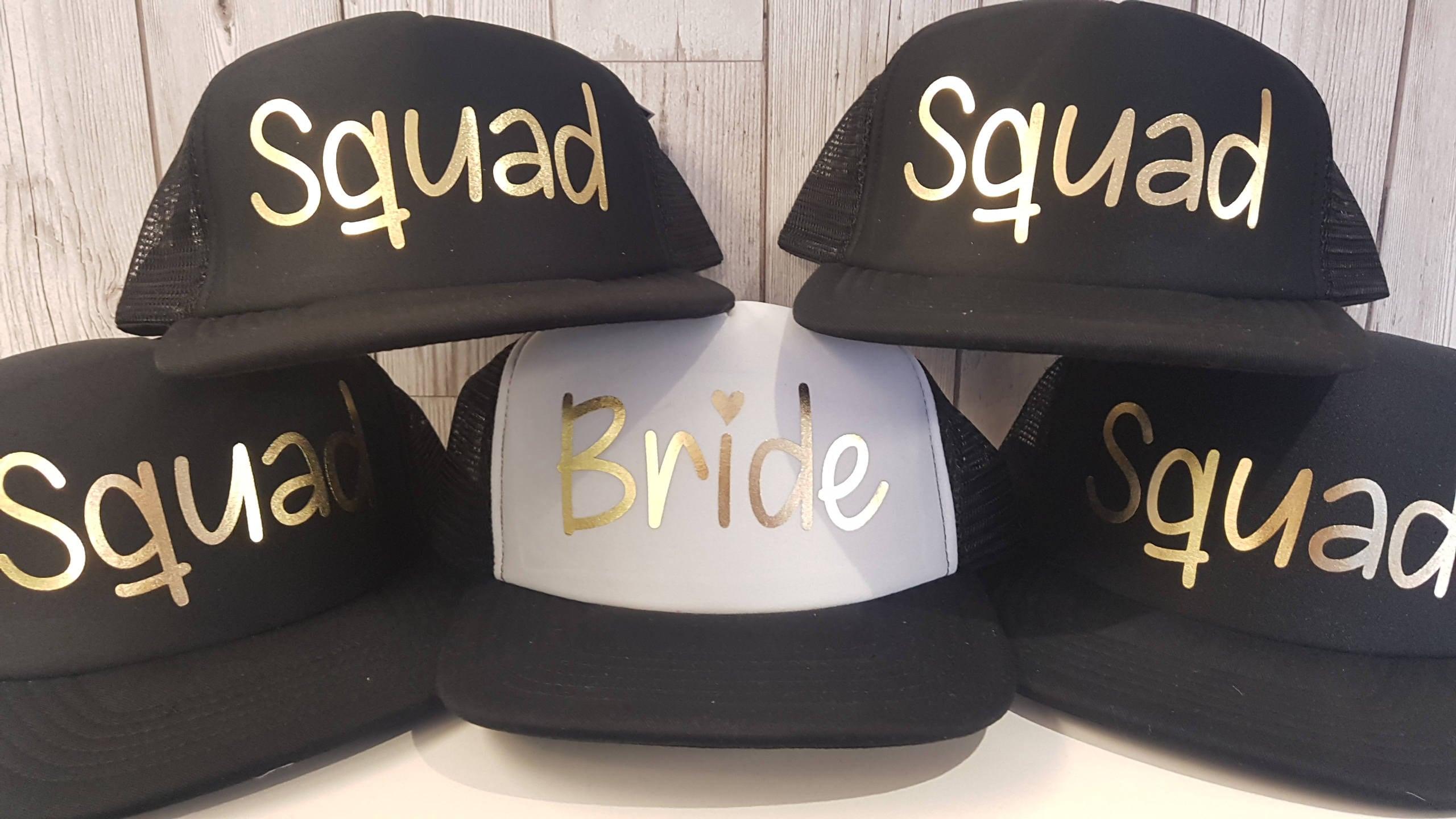 e06255c5dbf BRIDE   SQUAD Hen Party Night Snapback Baseball Caps Hats And Gold Foil  Print