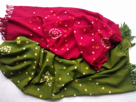 Bandhani Tie Die Stole Shibori scarf Handmade tie dye wool | Etsy