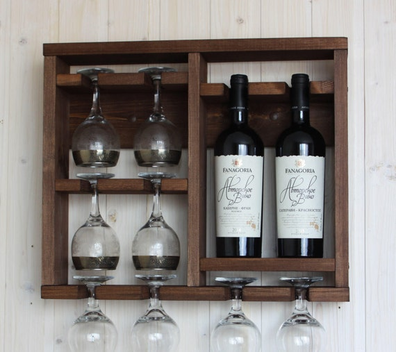 Wine Glass Rack Wooden Wine Rack Brown Shelf Kitchen Etsy