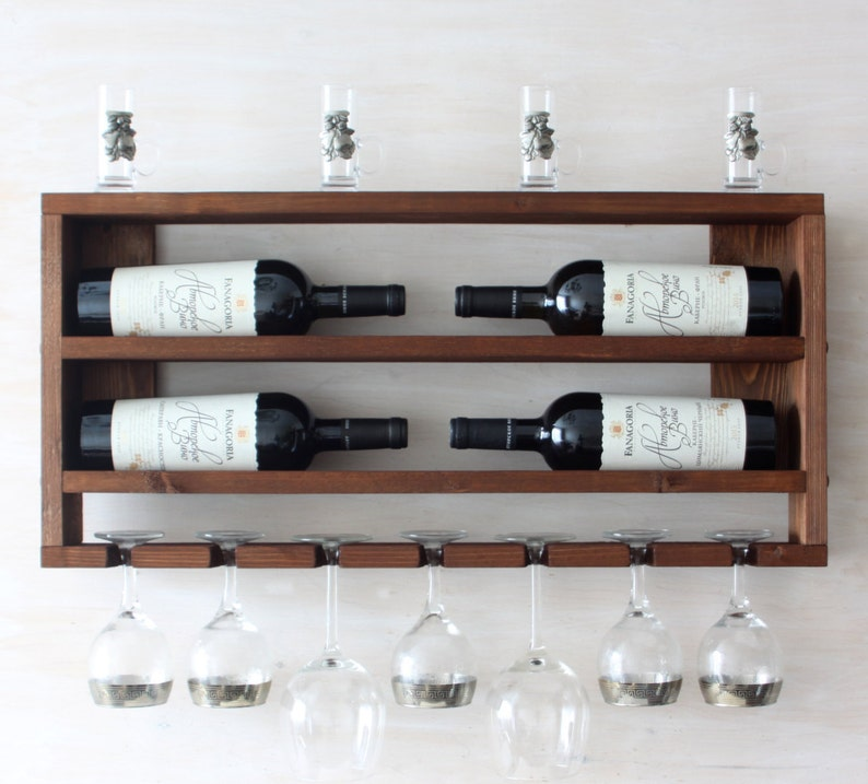 Wooden Wine Rack Kitchen Shelf Rustic Wine Rack Rustic Home Decor Horizontal Bottle Holder Wall Wine Rack Brown Shelf