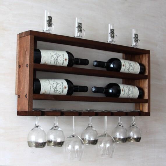 Hölzerne Wein rack - Küche Regal - Rustikales Weinregal - rustikale  Wohnkultur - horizontale Flaschenhalter - Wand Wein Rack - braun Regal