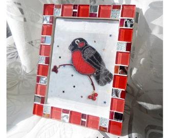5x7 frame - Mosaic photo frame - Red frame - Photo frame 5x7 - Picture frame 5x7 - Red frame set - Red frames - Mosaic art