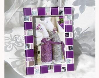 4x6 frame - Mosaic photo frame - Purple frame - Photo frame 4x6 - Picture frame 4x6 - Purple frames - Purple picture frame - Mosaic art