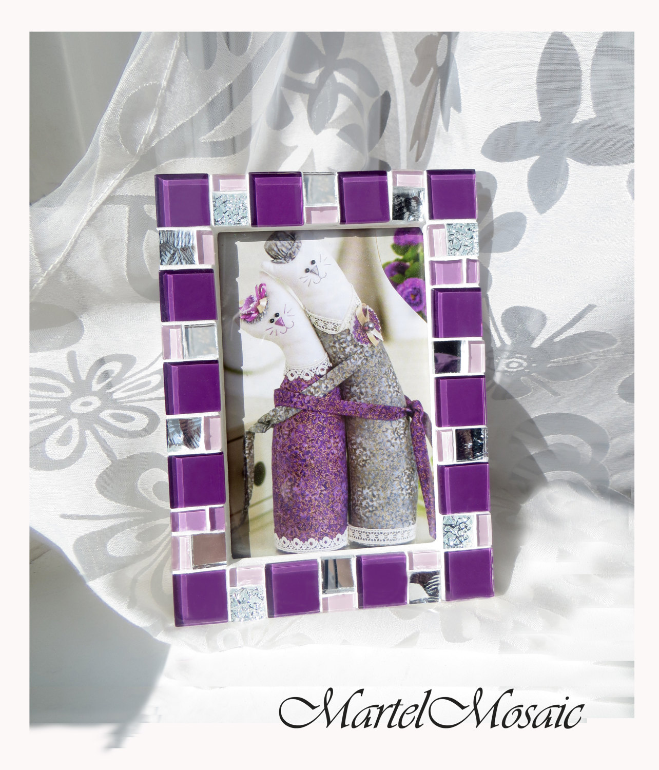 4x6 frame - Mosaic photo frame - Purple frame - Photo frame 4x6 ...