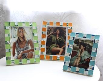 5x7 frame - Mosaic photo frame - Multi-color frame - Photo frame 5x7 - Picture frame 5x7 - Multi-color frame set - Mosaic art - Wedding gift