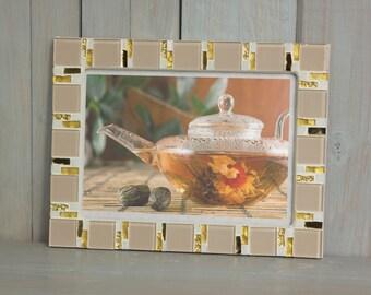 5x7 frame - Mosaic photo frame - Beige frame - Photo frame 5x7 - Picture frame 5x7 - Beige photo frame - Mosaic art - Wedding gift