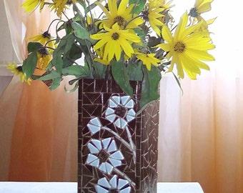 Brown vase - Glass mosaic vase - Vase glass - Mosaic vase - Mosaic art - Unique vases - Brown glass vase - Brown decor