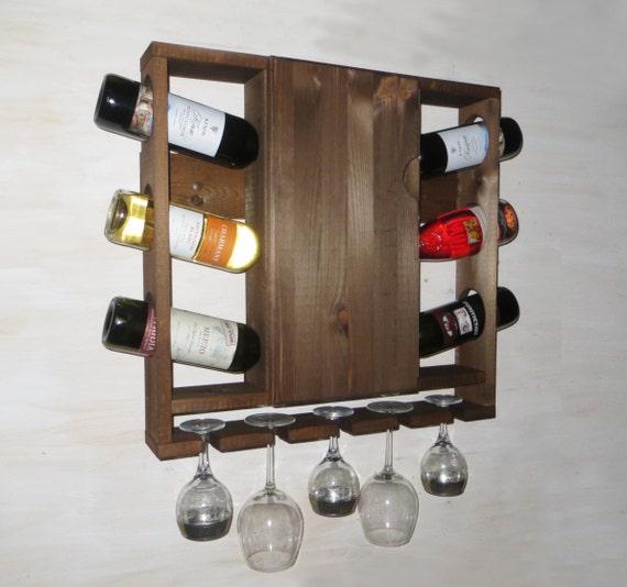 Weinregal Holz Weinregal mit Tür Küche Regal rustikales | Etsy