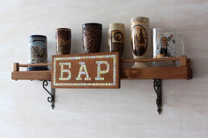 Bar In Legno Mensola Arredamento Rustico Portabottiglie In Etsy