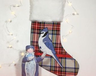 CHRISTMAS SOCK lined with white faux fur, hanging decoration, traditional tartan, wool ornament, country atmosphere, handmade crafts