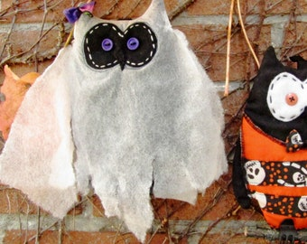 Phantom OWL for HALLOWEEN, hanging decoration, bird perched on a branch, night owl for horror scene, night atmosphere