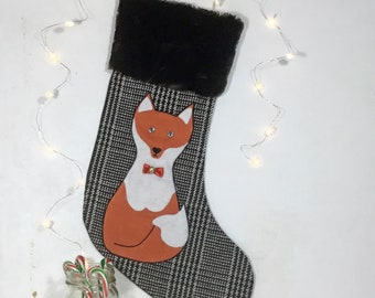 RED FOX applied to Christmas wool stocking and trimmed with faux fur, traditional durable and reusable packaging for your gifts