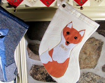 MEDIUM CHRISTMAS STOCKINGS, velvet Christmas slipper, red fox motif, holiday hanging ornament, suede applique, for small gift