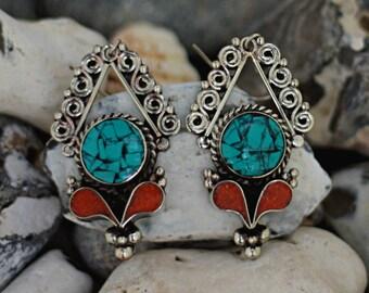 blue earrings, ethnic earrings, boho earrings, gift for her, ethnic earrings, long blue earrings, coral earrings, nepali earrings
