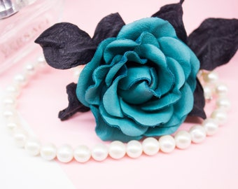 Rose Brooch, Leather Flower Brooch, Flower Accessory, Colourful Brooch, Festival Accessory, Genuine Leather Flower