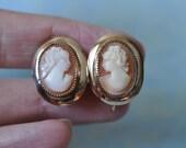 Vintage Cameo Earrings, Gold Filled Earrings, Screw Back Earrings, Signed AMCO Earrings, Cameo Jewelry, AMCO Jewelry, Vintage Cameo GS993