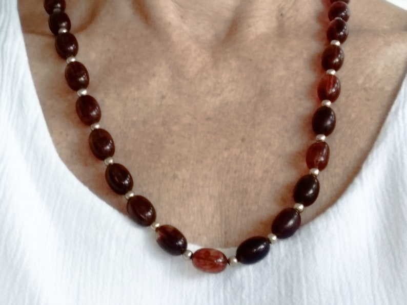 23 Inches Vintage Amber Colored Celluloid Gold Toned Beaded Necklace