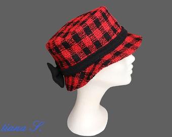 Hat Boucle Plaid red black, Gr. XS
