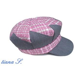 Patchwork-Mütze, Mütze, rosa-grau, Ballonmütze  Gr. S 364e3d2382