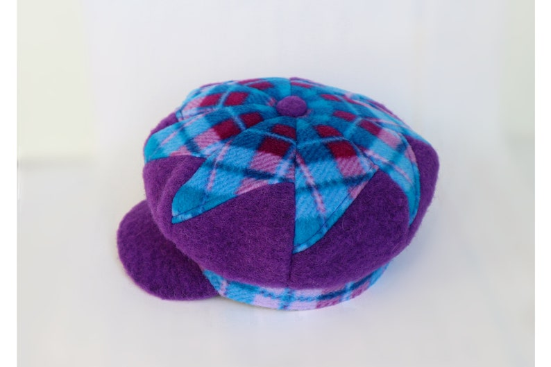 balloon hat Patchwork hat one size purple turquoise