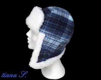 Fur Cap diamonds, blue and white, size S