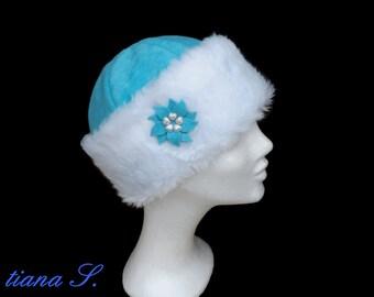 Fur Cap aqua white, winter hat, size S