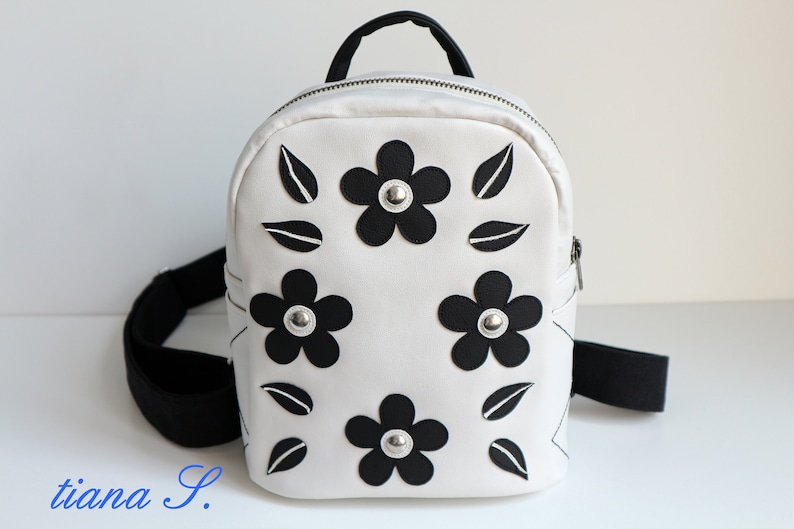 City-Backpack, white-black, small backpack, vegan, offwhite, black,  application, rivets