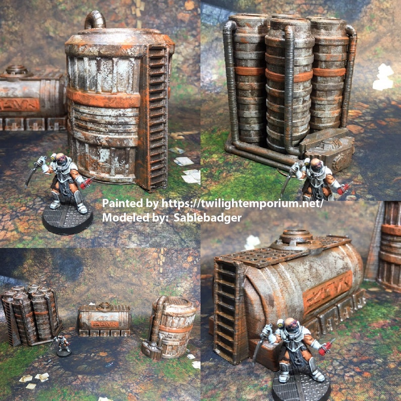 Chemical Tanks 28mm 32mm - Great for Star Wars Legion / Infinity /  Warhammer 40k - Line of Sight Blocking Terrain