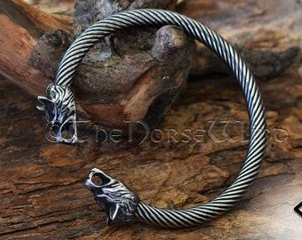 Viking Bracelet, Fenrir Wolf Head Arm Ring, Steel Viking Torque, Viking Wolf Torc, Norse Ragnar Bracelet, Norse Mythology, Viking Jewelry
