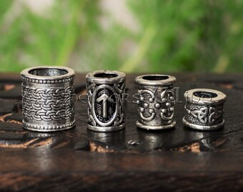 2337031cab5f Set of 4 Viking Beard Rings   Hair Beads KIT with Rune Bead of Your Choice