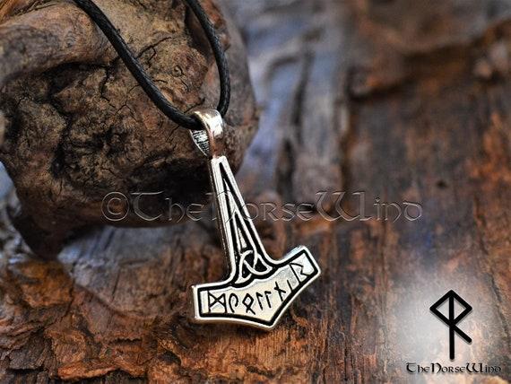 Thor/'s Hammer Necklace Viking Rune Beads Necklace Mjolnir Pendant Odin Pendant Strength Amulet Norse Mythology Asatru Viking Jewelry
