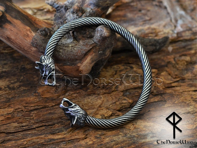 Viking Bracelet Fenrir Wolf Head Arm Ring Steel Viking image 0
