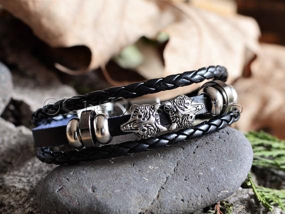 Viking Bracelet Wolf Heads Pu Leather Bracelet Fenrir Wolf Etsy