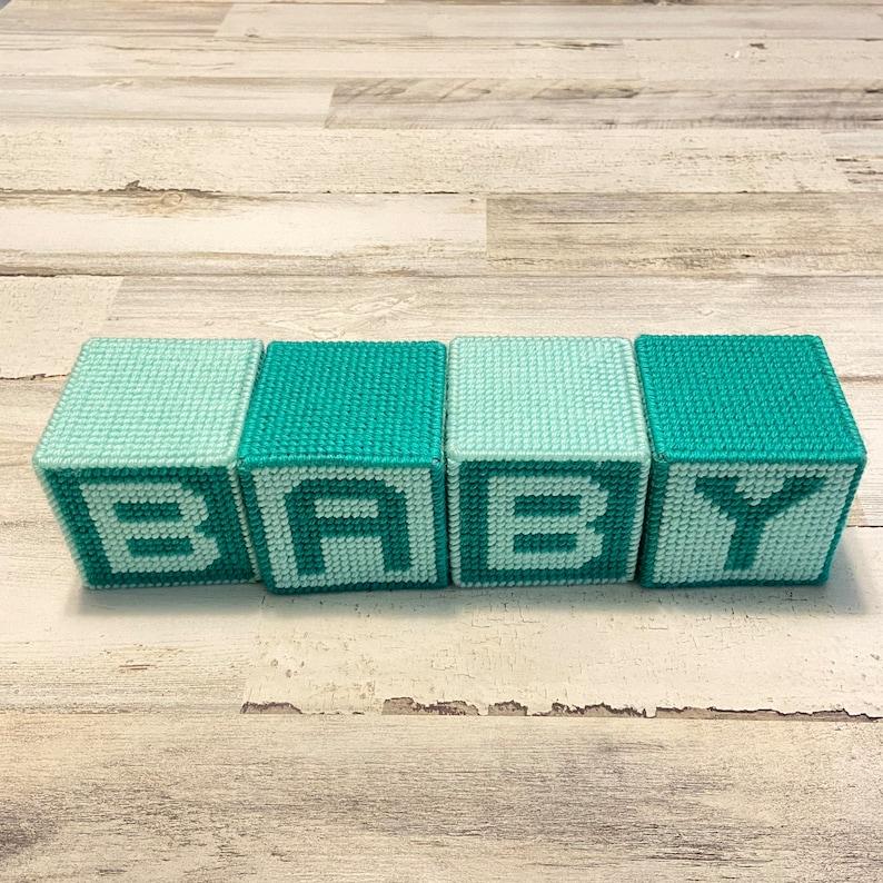 shower gift Baby blocks photo props Aqua Nursery Decor
