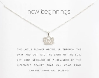 Good luck pendant etsy lotus flower necklace new beginnings in gold and silver color good luck pendants aloadofball Gallery