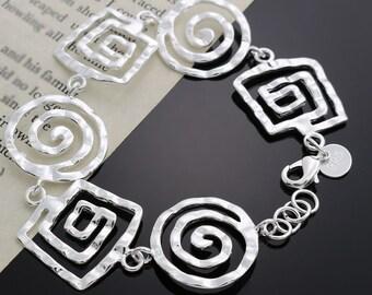 Retro Silver Geometric Bracelet