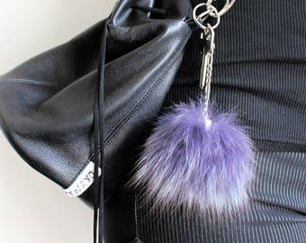 Purple Recycled Fur Pompom