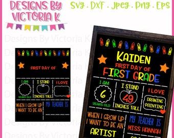 first day of school sign chalkboard design cut file svg dxf cut files cricut design space vinyl cut files