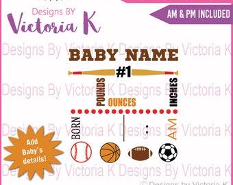 Birth Announcement, Subway art, Sports, Baseball svg, Football svg, Birth Details, SVG, DXF, EPS Files, Cricut Design Space, Vinyl cut Files