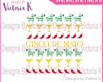 Cinco De Mayo, Cross stitch style, Margarita svg, Chilli, Pinata, Clipart, SVG, DXF, PNG Files, Cricut Design Space, Vinyl Cut Files