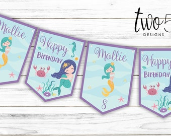 Personalised Mermaid Happy Birthday Bunting Children/'s Party Decoration Banner