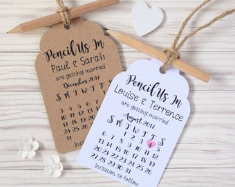 Pencil Us In - Rustic Calendar Save the Date Tags / Cards (with Envelopes)