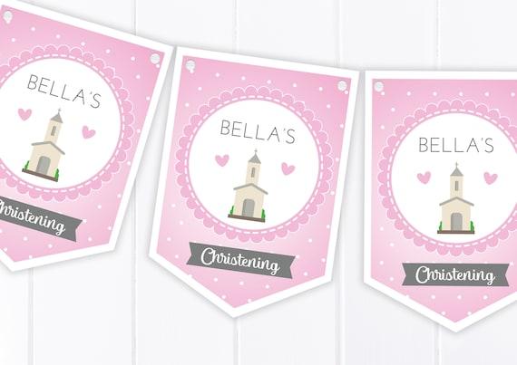 Pink Patterned Personalised Christening Baptism Bunting Banner Garland