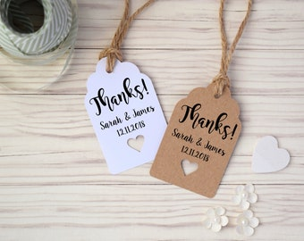 Rustic Personalised Wedding Favour Thank You Tags