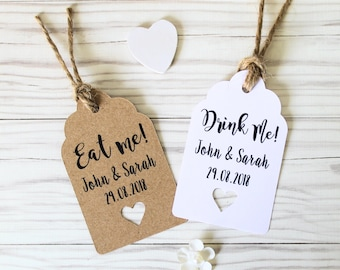 Rustic Personalised  Drink Me or Eat Me Wedding Favour Thank You Tags - 3 Sizes Available