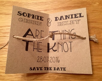 Tying The Knot Save the Date Cards with Envelopes - Wedding Invitations