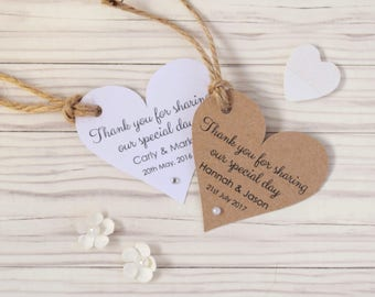 Rustic/Shabby Chic Heart Wedding Favour Tags