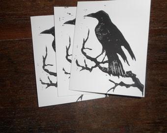 Raven cards, set of 3